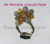 Original Handcrafted Ring - Labradorite and Citrine on Braided Silver and Leather