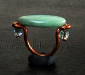 Amaranth Original Handcrafted Rings - Hand-wrought Copper and Russian Amazonite Ring