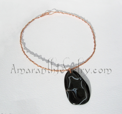 Original Handcrafted Necklace - Black Agate on Braided Copper