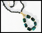 Unique Modern Chrysocolla and Hematite Necklace