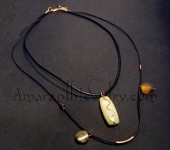 Exclusive Men's Handmade Jewelry - Leather 2-strand Necklace with Yellow Jasper and Agatized Fossil Coral