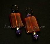 Original Handcrafted Earrings - Red Agate, Fluorite and Pearl Earrings