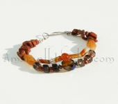 Red Agate, Smoky Quartz and Red Aventurine Double-strand Bracelet