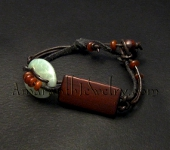 Hand crafted men's bracelet - Serpentine, Wood and Leather Bracelet