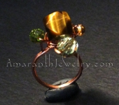 Wire Jewelry - Tiger Eye and Copper Handmade Ring