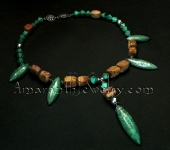 Original Handmade Necklaces - Grade A Turquoise and Picture Jasper Necklace