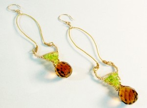 Smoky_Quartz_Peridot_Vermeil_Earrings